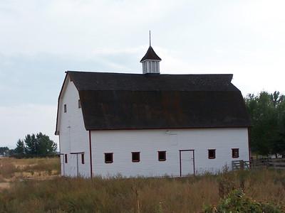 White barn south of Idaho Falls, Idaho. 9.08