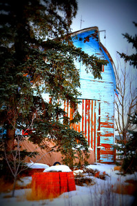 Blue barn in Bonneville county, Idaho Falls, ID. 2.09. edited
