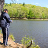 Stephen Coleman of Fitchburg enjoyed the nice weather on Monday morning to take in some fishing at Barrett Park in Leominster. SENTINEL & ENTERPRISE/JOHN LOVE
