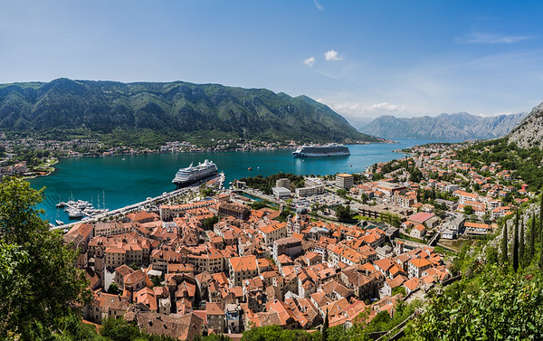 Triangular shaped old town of Kotor