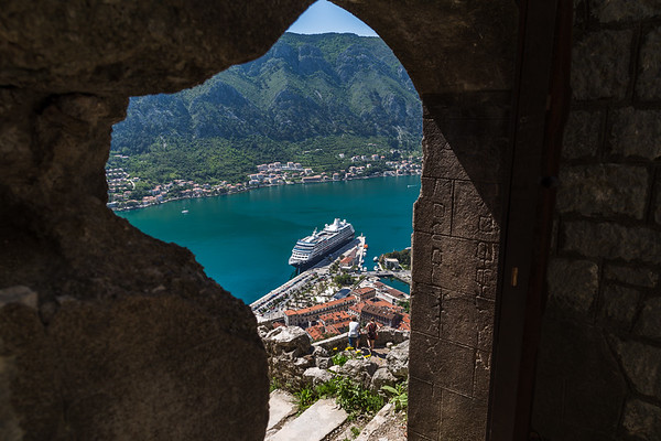 Cruise ship moored in Kotor