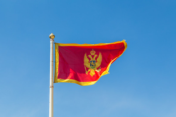 Montenegro flag flapping in the wind