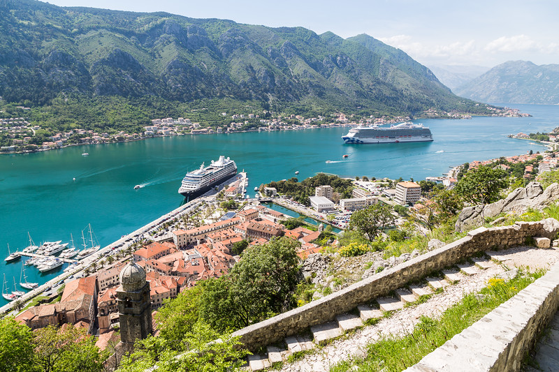 Kotor surrounded by fortifications
