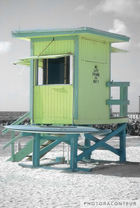 """NO LIFE GUARD ON DUTY - SOUTH BEACH"" ~ Lifeguard station in South Beach (Miami Beach, FL)."
