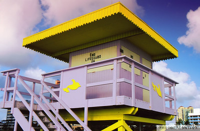 """Lifeguard Tower at 3rd Street"" ~ Lifeguard tower on South Beach (Miami).  This tower was located at 3rd Street, but was sadly destroyed by Hurricane Wilma."