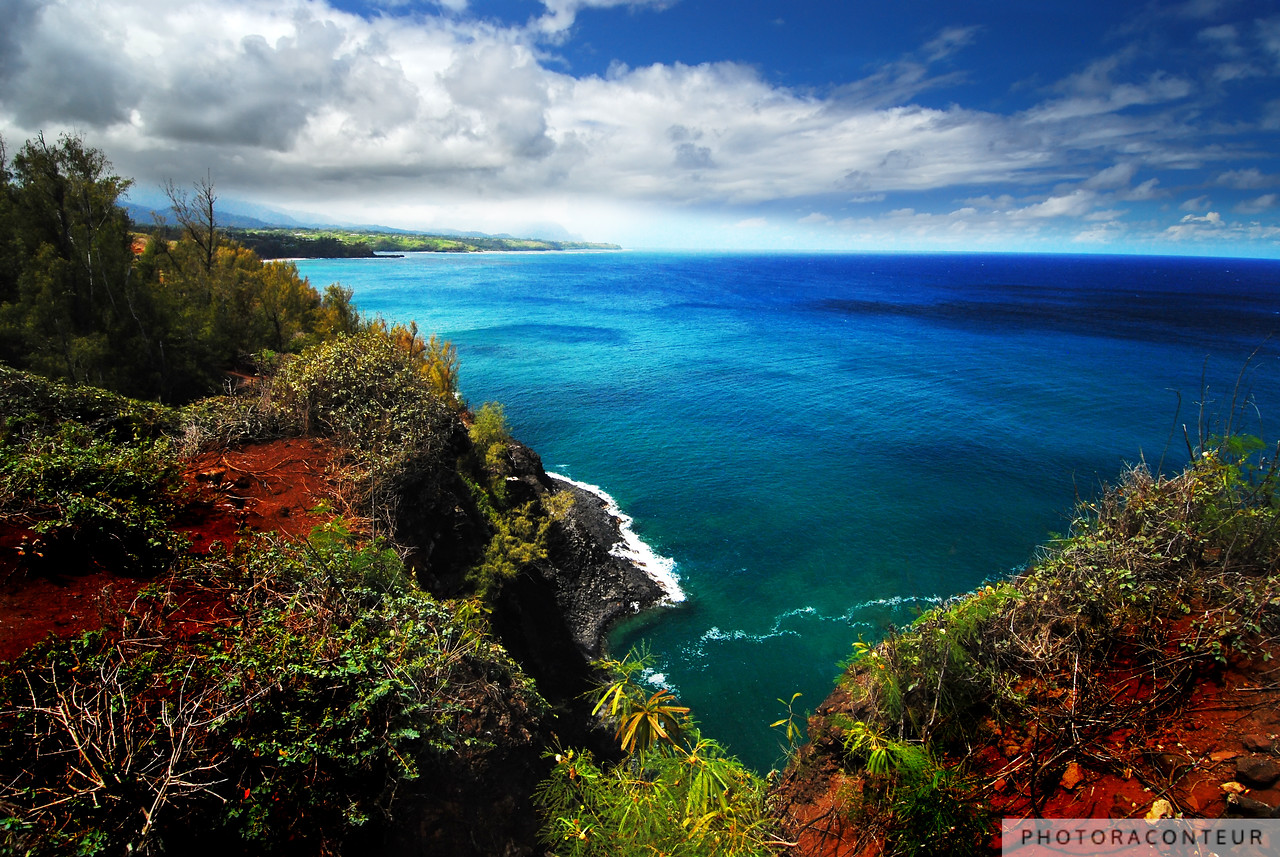 """North Shore Seascape"" ~  In the late summer of 2010, I had the amazing opportunity to spend a week on the beautiful Hawaiian Island of Kaua'i. One day along the way to a kayaking tour in Hanalei Bay, my friends and I made a brief stop at the Kilauea Point National Wildlife refuge to check out the historic lighthouse.  On the walk back to the car, I noticed this beautiful vista of the north shore of Kaua'i, looking westward toward Princeville.  The cloud formations over the mountain with mid-morning lighting was simply perfect.  More often than not, it's the shots that I don't plan for that end up being the ""keepers."""