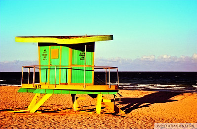 """Lifeguard Tower at 14th Street"" ~ Lifeguard tower on South Beach (Miami).  This tower was located at 14th Street but has been replaced."