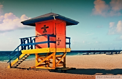 """Lifeguard Tower at South Pointe Drive, East"" ~ Lifeguard tower on South Beach (Miami).  This tower was located at South Pointe Drive, but was sadly destroyed by Hurricane Wilma."