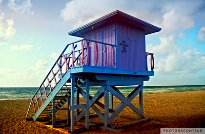 """Lifeguard Tower at 8th Street"" ~ Lifeguard tower on South Beach (Miami).  This tower was located at 8th Street but was sadly destroyed by Hurricane Wilma."
