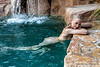 blond girl at swimming pool