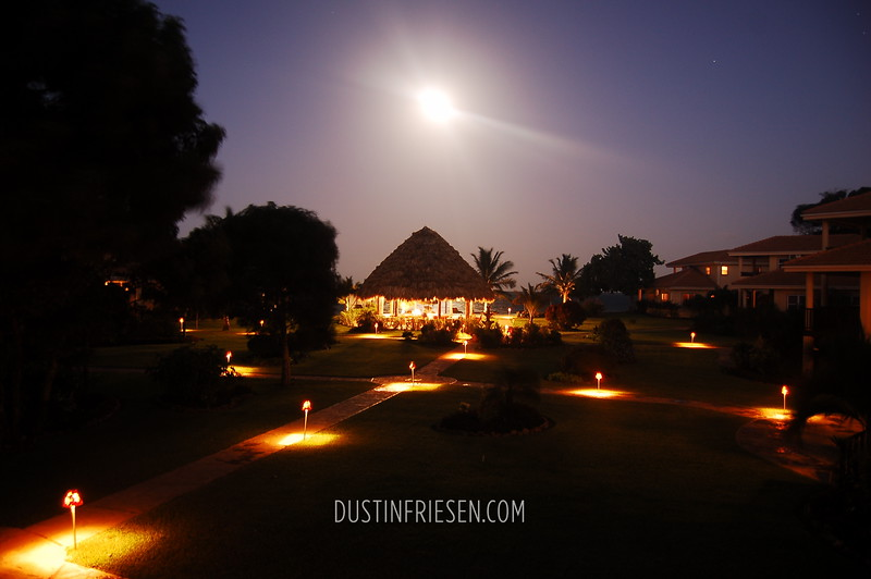 Belizian resort at night
