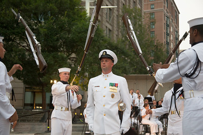 Members of the U.S. Navy Ceremonial Guard Drill Team perform at the U.S. Navy Memorial in Washington D.C. on August 13.