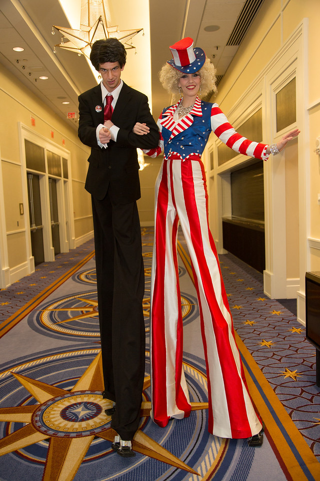 NYC Stilts - Joshua Longshore (Ronnie Reagan) and Maria Kent (Uncle Sam)<br /> <br /> <br /> Thousands of conservative activists from across the United States attended the annual Conservative Political Action Conference (CPAC) at the Gaylord National Resort & Convention Center at National Harbor, MD on March 6-8.