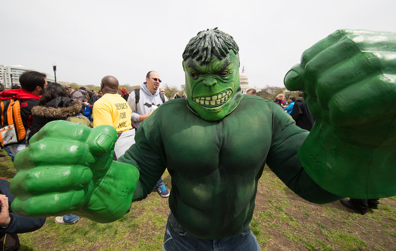 Jerry Luftan  (Bristow, VA) as the Hulk.<br /> An estimated 40,000 visitors descended on the Walter E. Washington Convention Center in the District for the second annual Awesome Con D.C. for three days of panels, comic book displays and autograph signings on April 18 through 20.