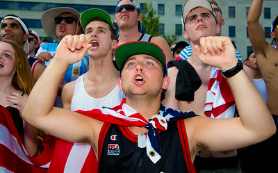 Kevin Cantarilho from Potomac MD World Cup fans gather in Freedom Plaza for USA vs. Belgium (July 1, 2014)
