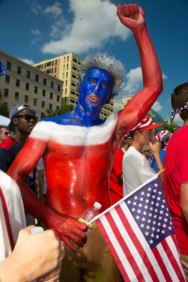 Sean Saadat from D.C.<br /> World Cup fans gather in Freedom Plaza for USA vs. Belgium (July 1, 2014)