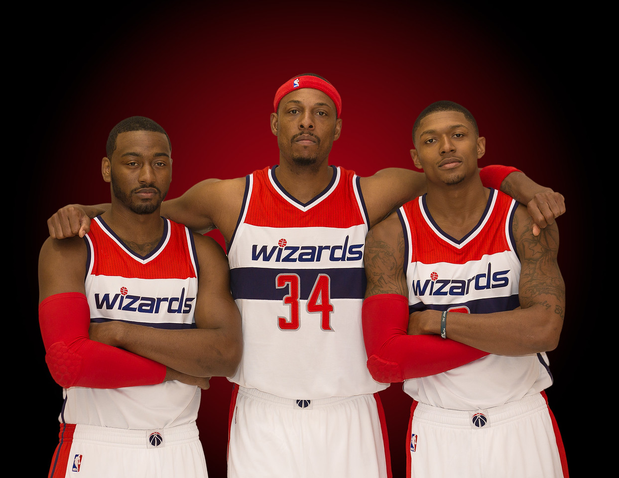 2 John Wall<br /> 34 Paul Pierce<br /> 3 Bradley Beal