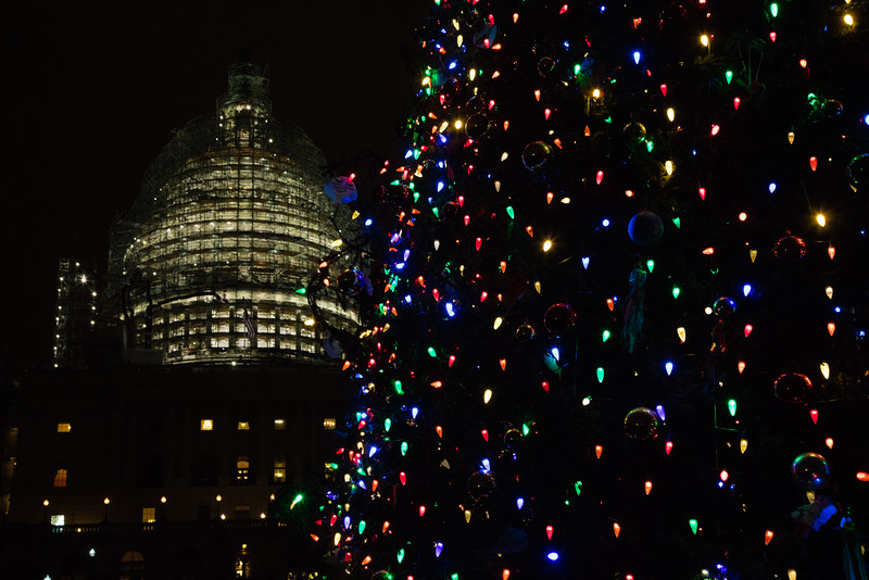 The Capitol Christmas tree is lit up on Christmas Eve, Dec. 24, 2015. The tree, a 74-foot spruce, traveled 4,000 miles from Alaska's Chugach National Forest and arrived in Washington on Nov. 20. It is decorated with thousands of ornaments created by children from the state .
