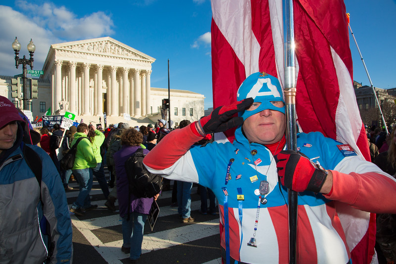 Jim Griffin (an ex-Marine) as Captain America at the Supreme Court. March for Life (Jan. 22, 2015) anti-abortion rally in Washington D.C.