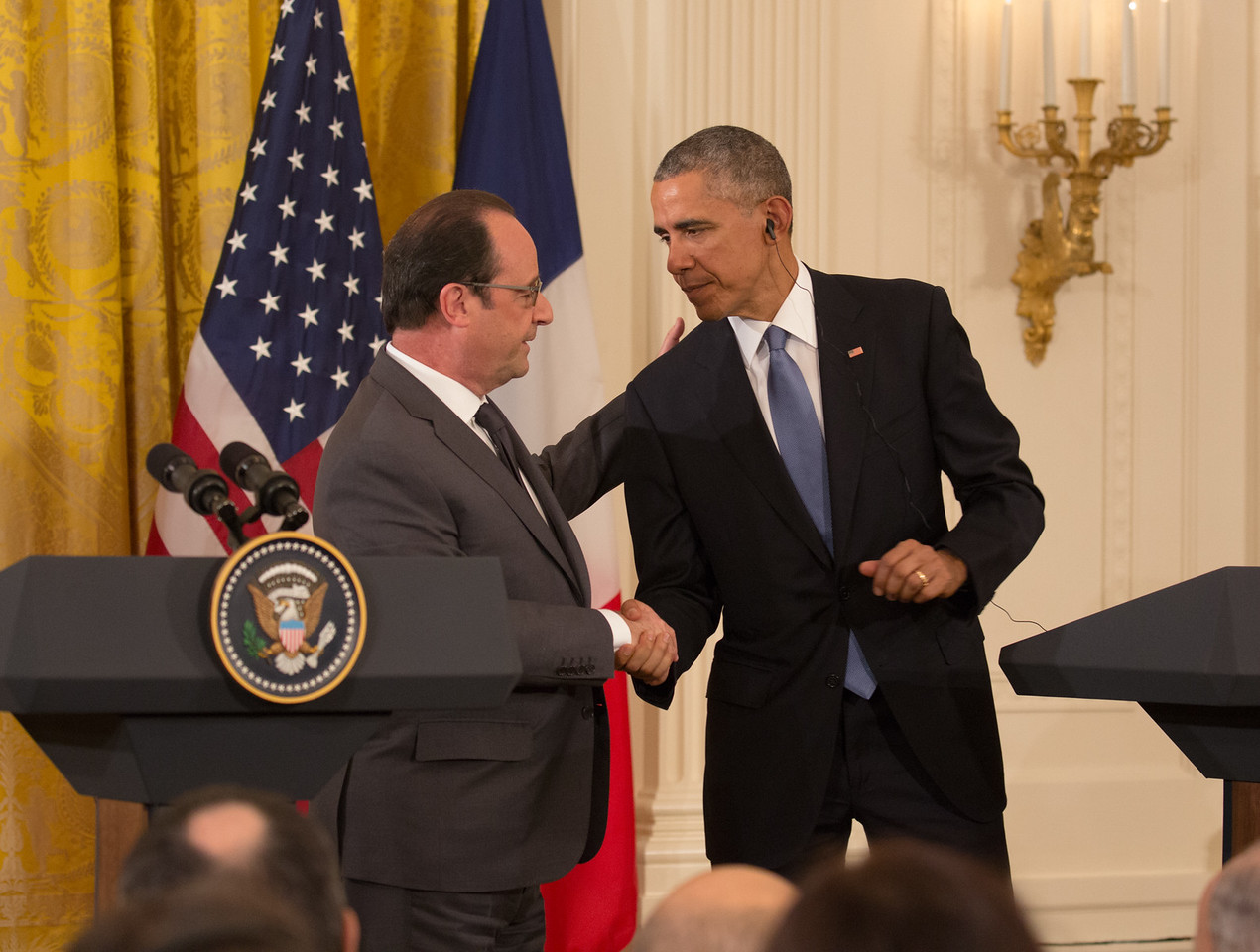 French President François Hollande and U.S. President Barack Obama held a joint press conference at the White House in Washington D.C.  on Tuesday, November 24, 2015. The governments of France and the United States agreed to increase military operations against the Islamic State in Syria and Iraq and share intelligence on domestic threats following the worst terrorist attacks to hit France since World War II.