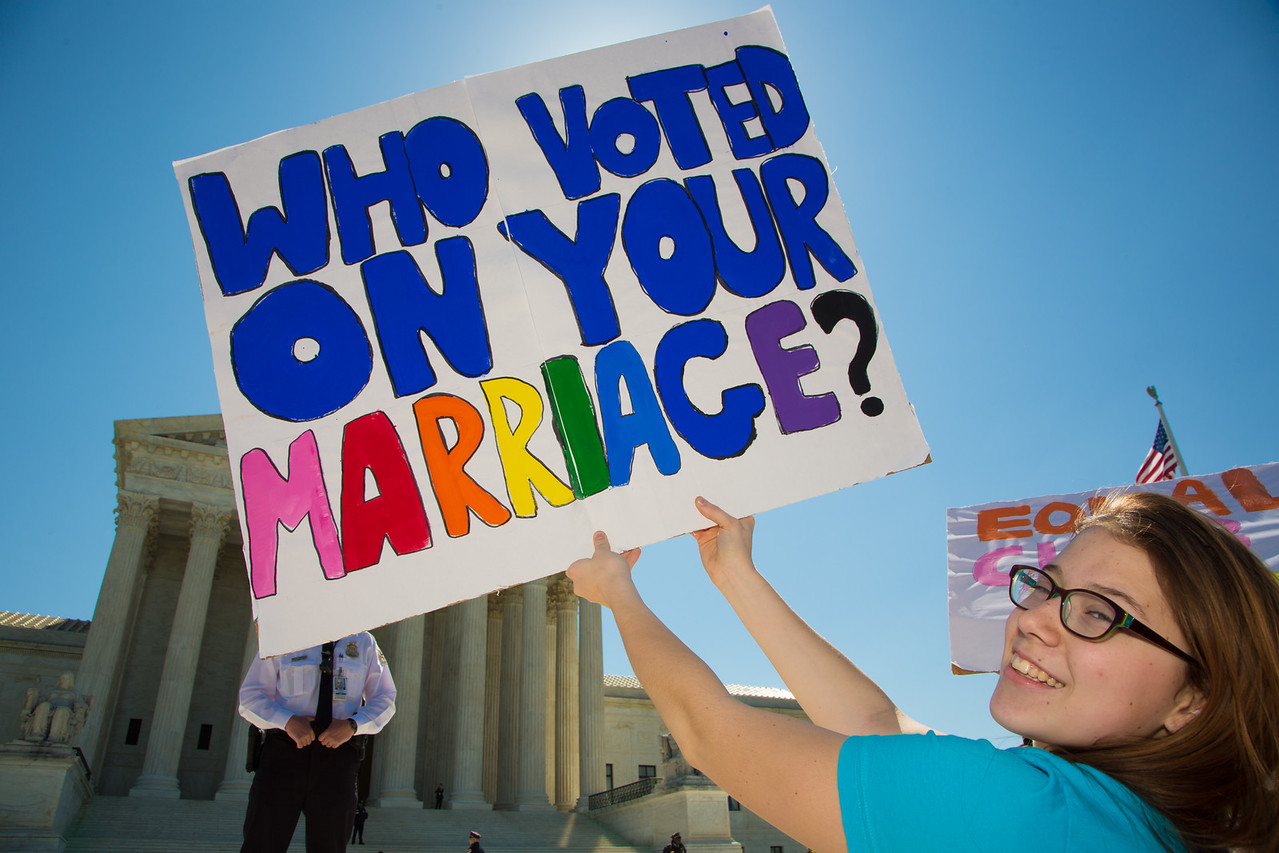 U.S. Supreme Court hears a landmark case regarding Constitution guarantees to the right to same-sex marriage. April 28, 2015.
