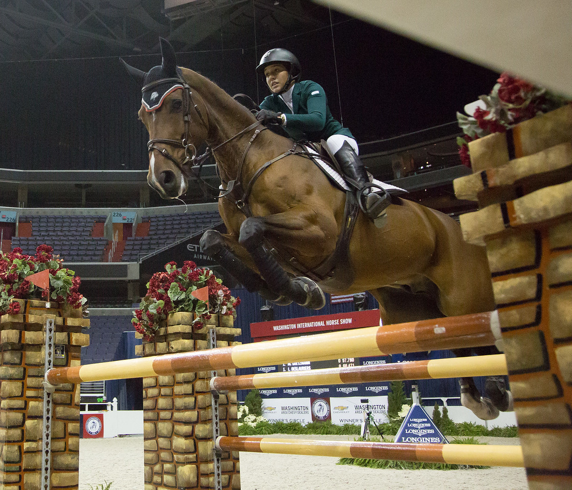 Lacey Gilbertson (Lake Forest IL) on Echo D at the Washington International Horse Show at the Verizon Center on October 24, 2015.