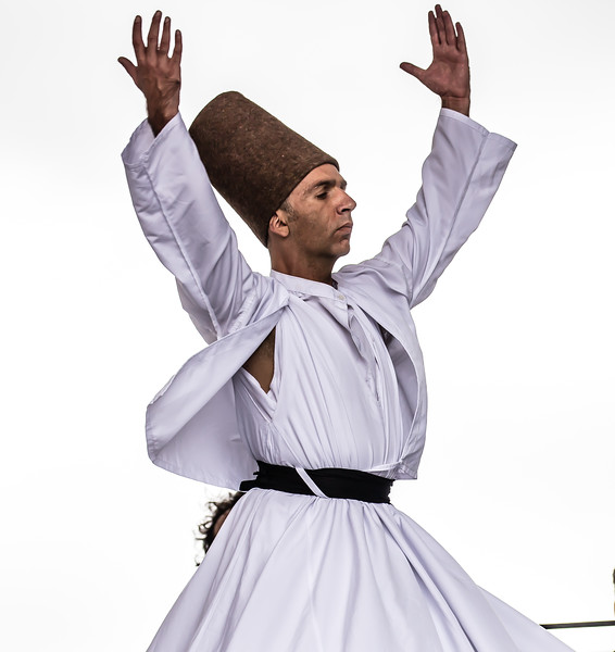 Whirling dervish folk dancer from Hacettepe University of Ankara, Turkey perform at the Turkish Festival on Pennsylvania Ave. NW in Washington D.C. on Sept. 27, 2015.