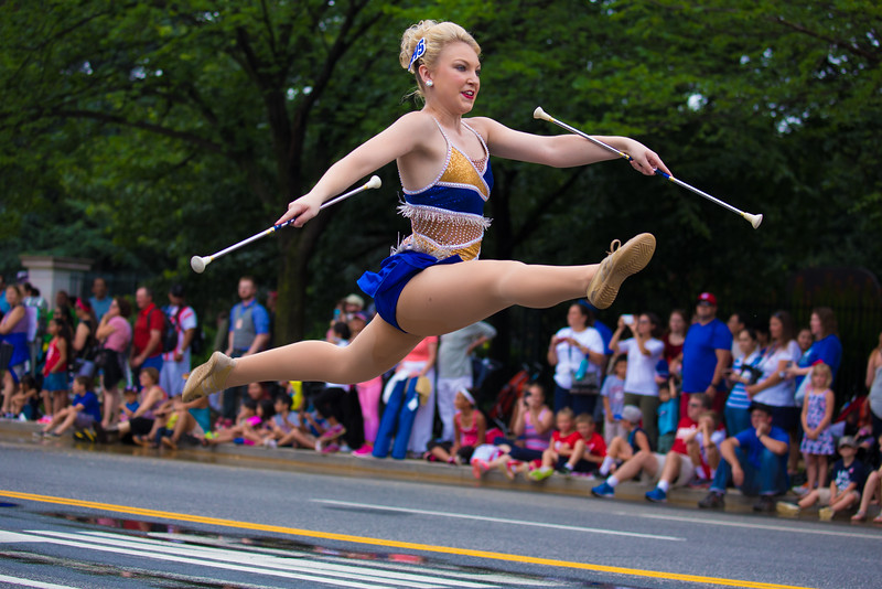 Alexis Piskulic of the Seckman H.S. Jaguar Pride Marching Band, Imperial, MO. Piskulic holds the title of the 2015 Missouri State Twirling Champion. National Independence Day Parade, Washington D.C. July 4, 2015.