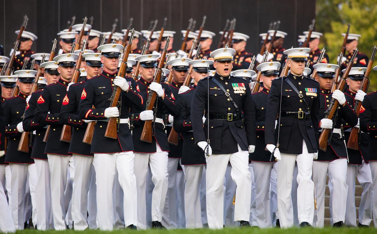Marine Corps Sunset Parade at the Iwo Jima Memorial, Arlington VA, July 7, 2015,