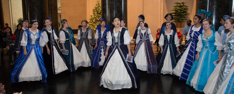 The Marriotts Ridge High School Madrigals performs at the National Gallery of Art West Building Rotunda on Dec 19, 2015.