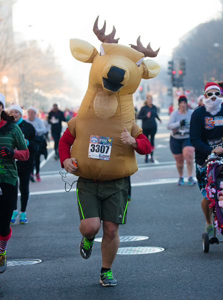 Michael Moiseyev (age 51) of Washington DC finishes the Jingle All the Way 5K  on December 7, 2015.