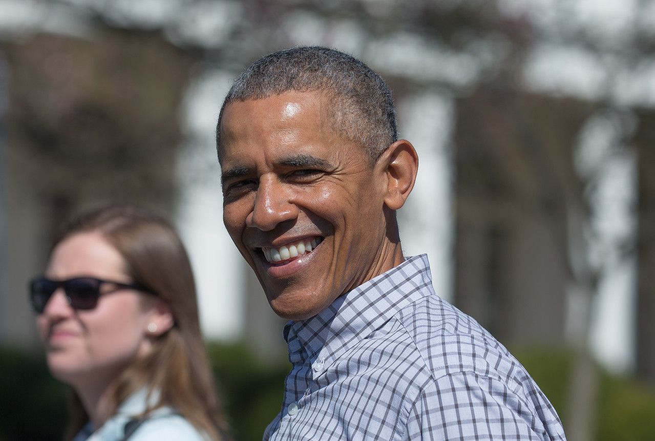 President Barack Obama up close at the annual White House Easter Egg Roll on the South Lawn.