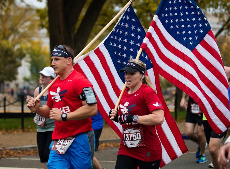 Nicholas Ruhland (Elma NY) and Misti Digangi (Colonia NJ) at the Marine Corps Marathon, Oct. 25, 2015.