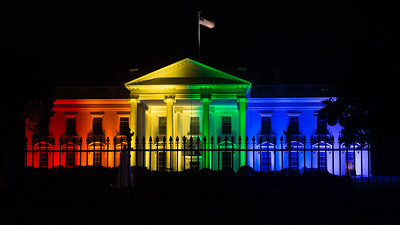 The White House is lit up in rainbow colors in recognition of the U.S. Supreme Court's ruling in favor of legalizing same-sex marriage on Friday, June 26 2015 in Washington D.C.