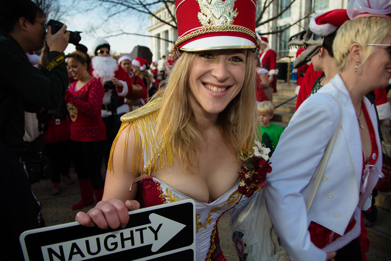 """JoAnna Goldberg. Naughty? Several hundred Santas, reindeer, snowmen and assorted elves congregated on the National Mall on a seasonably warm Dec. 12 for Santarchy 2015, the worldwide movement to promote """"holiday cheer, goodwill and fun."""""""