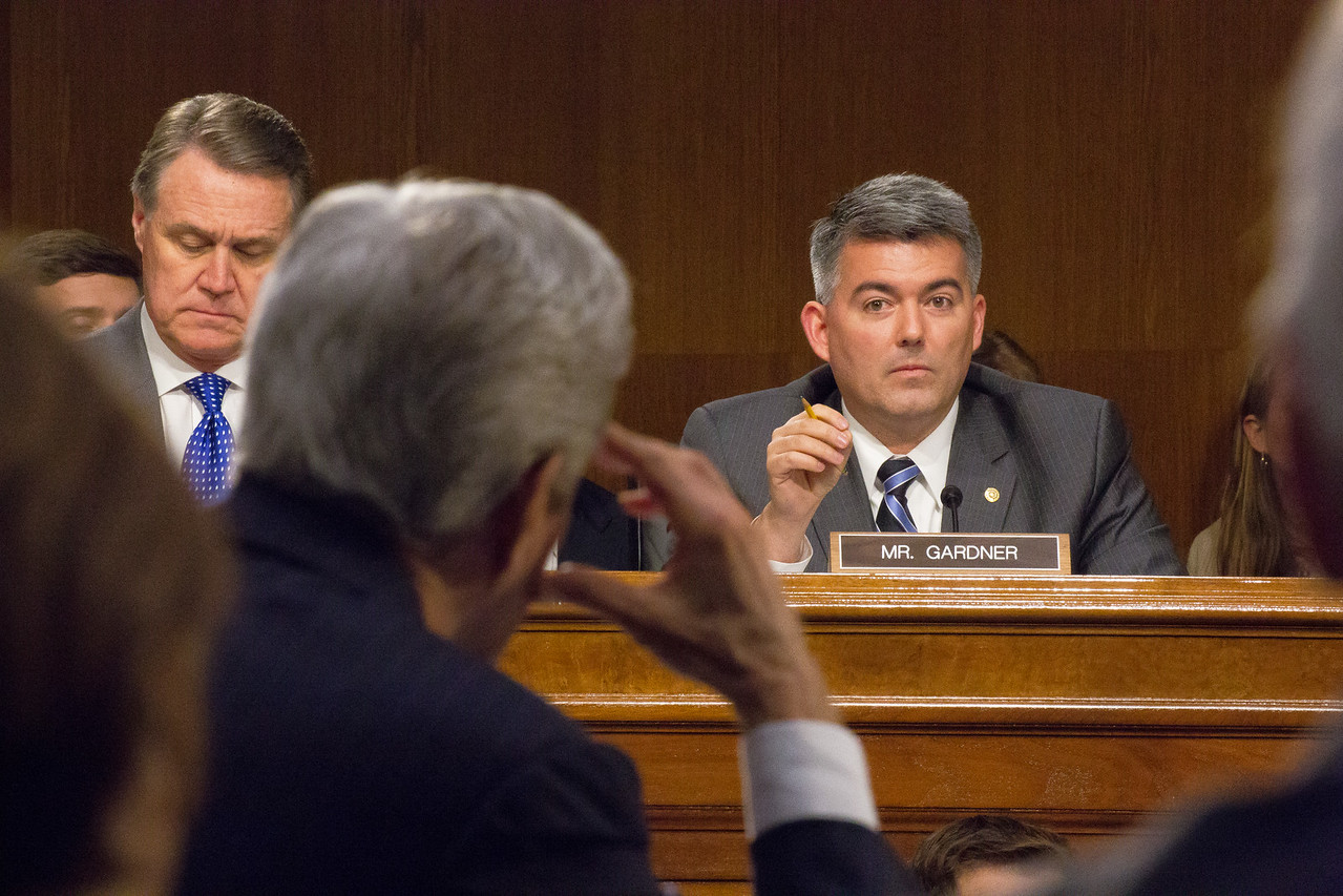 """Senator Cory Gardner (R-CO) questions Secretary of State John Kerry at a Senate Foreign Relations Committee hearing on President Obama's request for authorization for use for military force (AUMF) against ISIS, on Capitol Hill in Washington D.C. on Wednesday, March 11, 2015.. Defense Secretary Ashton Carter, and Joint Chiefs of Staff Chair General Martin Dempsey also testified at the hearing. Kerry had just criticized a recent letter from 47 Republican senators to the leaders of Iran as """"irresponsible"""". The letter in question was organized by Sen. Tom Cotton (R-Ark,) and concerned negotiations aimed at curbing Iran's nuclear program."""