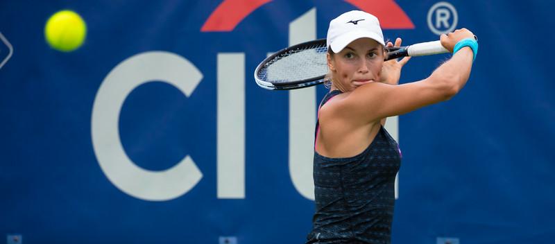 Yulia Putintseva (Kazakhstan) at the Citi Open Tennis Tournament in Washington D.C. on August 6, 2015.