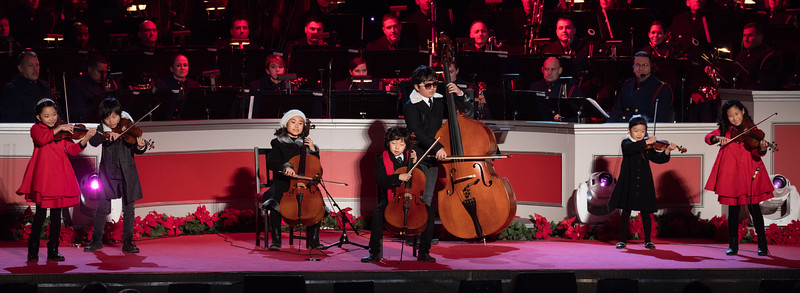 The Joyous String Ensemble perform. President Barack Obama and the First Family led the lighting of the National Christmas Tree with a bevy of celebrity performers on the Ellipse at President's Park near the White House in Washington D.C. on Thursday, December 3, 2015. The 93rd annual lighting ceremony was presented by the National Park Service and the National Park Foundation. The program will be broadcast nationally on PBS on December 9.
