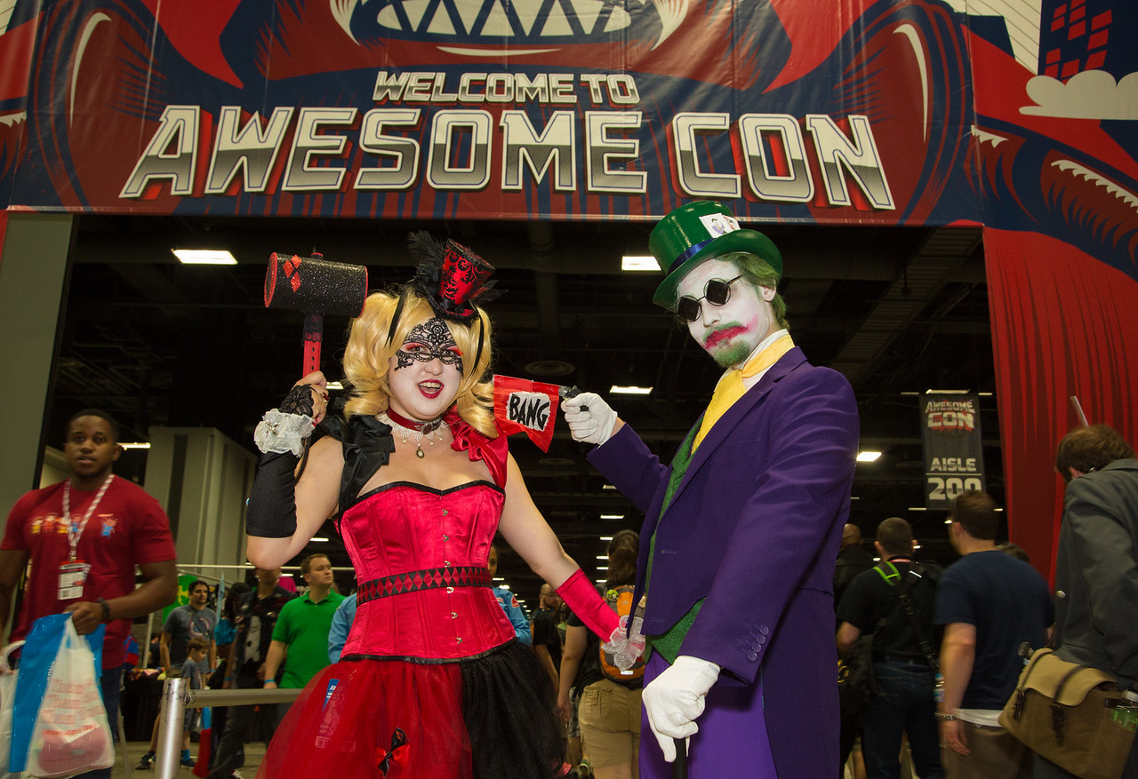 Awesome Con  comic and pop culture festival at the Walter E. Washington Convention Center in Washington D.C. Cosplayers  Jennifer Rast as Harly Quinn, and Adam Rast as Joker on May 30, 2015.