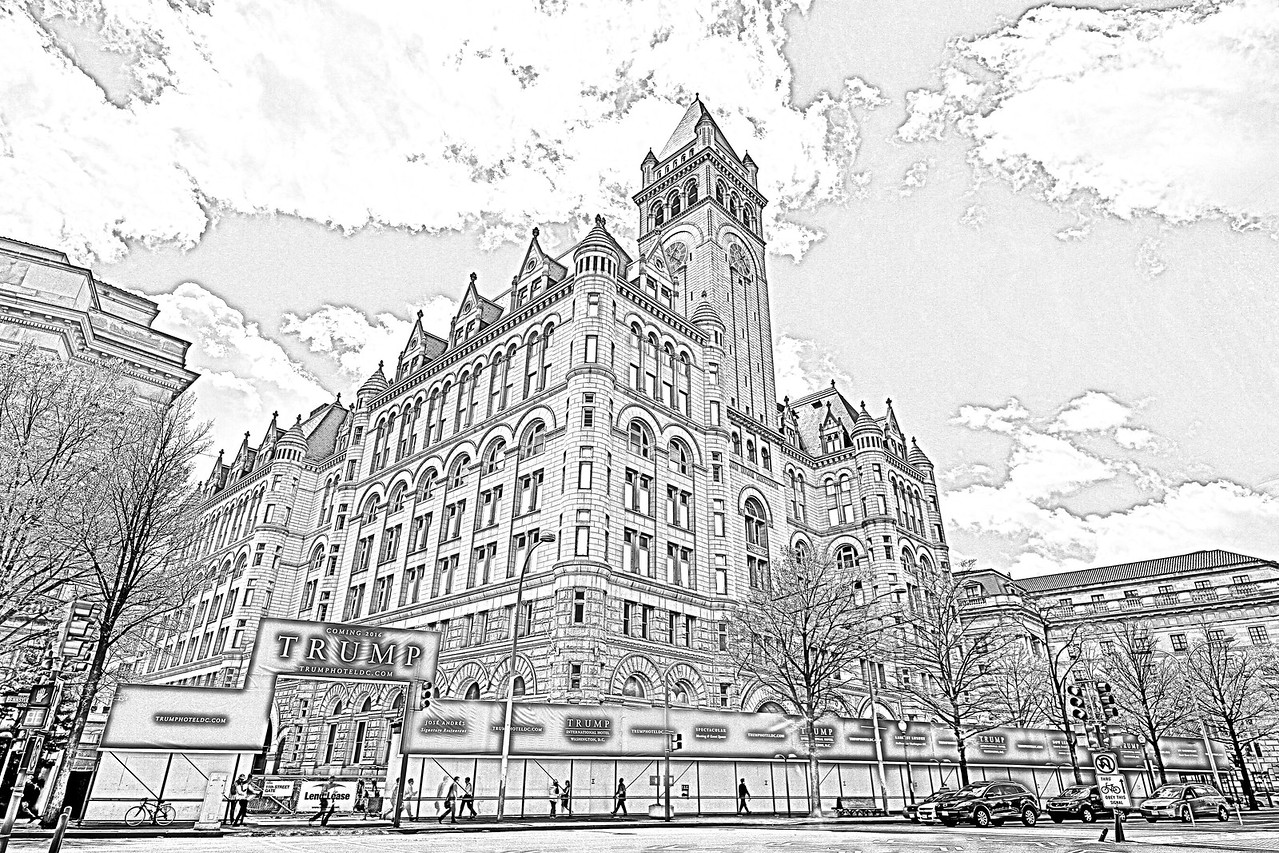 Pencil rendering of the Trump International Hotel Washington DC , which is completing a two-year transformation, turning the iconic Old Post Office into Washington, DC's newest luxury hotel. Photo taken on April 17. 2015.