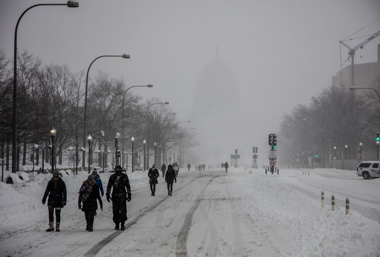 Snow Storm in Washington D.C., Pennsylvania Ave. NW