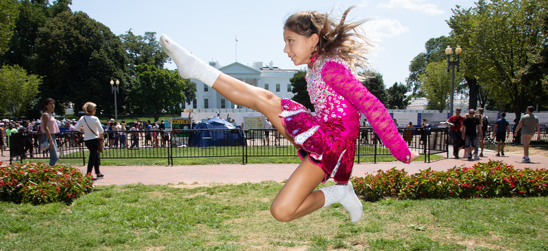 A participants of the O'Neill James School of Irish Dance take a break from the Nations Capital Feis Irish dance competition to visit the White House. (photo by Jeff Malet)