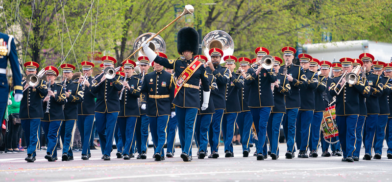 The U.S. Army Marching Band at the Cherry Blossom Festival Parade on Constitution Ave. in Washington D.C. on April 13, 2019.