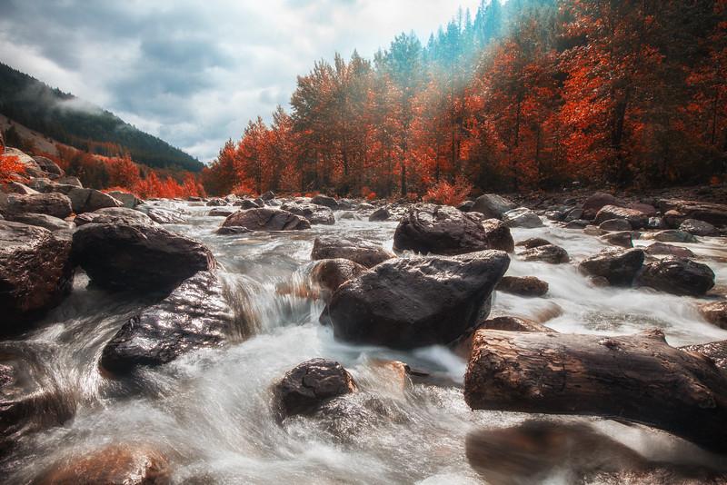A boulder filled river in Glacier National Park.