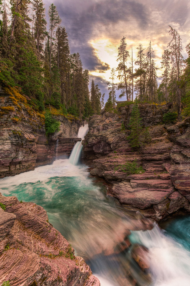The powerful currents of St. Mary Falls in Glacier National Park