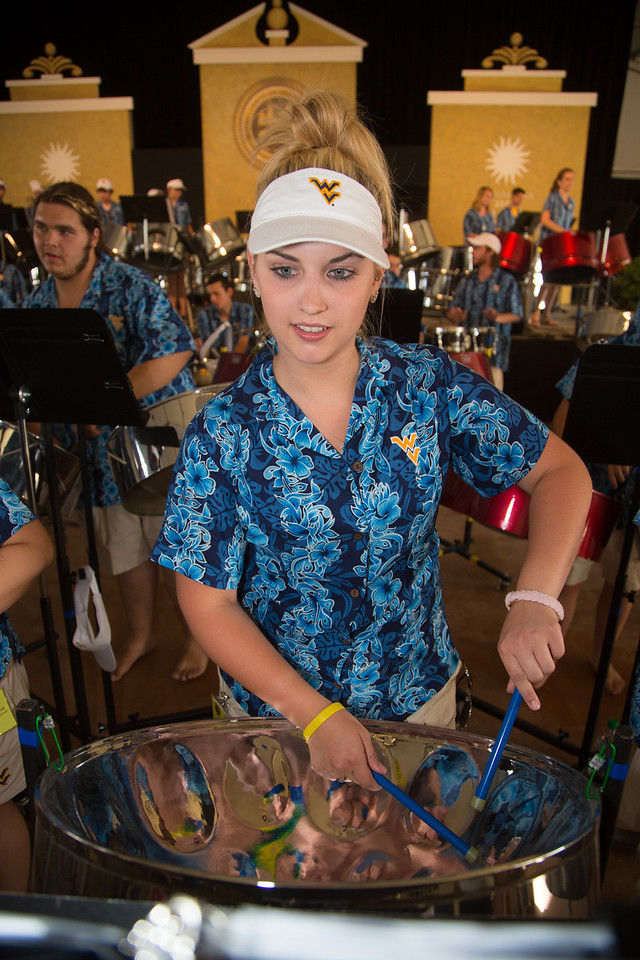 The West Virginia University Steel Band performs at the Smithsonian Folklife Festival on the National Mall on June 27.