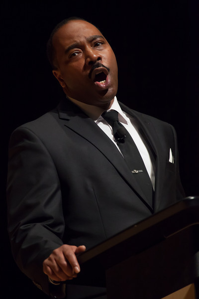 The Music Center at Strathmore was host to a moving celebration in honor of the life and work of Dr. Martin Luther King Jr. on Monday, January 16, 2012. The highlight of the program was Dr. King himself, in the guise of Mr. Gregg Riley, a talented actor and a dead ringer for the noted civil rights leader.