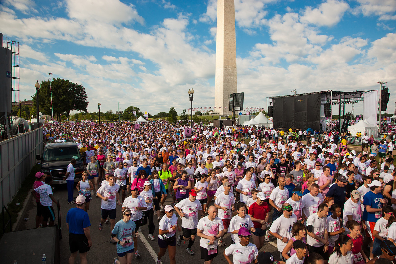 The Susan G. Komen Foundation said that 27,000 walkers and runners participated in the Annual Komen global race for the cure for breast cancer on the National Mall in Washington DC on June 2., 2012. The opening ceremony was held at the Washington Monument. It is one of the largest 5K runs and fitness walks in the world.