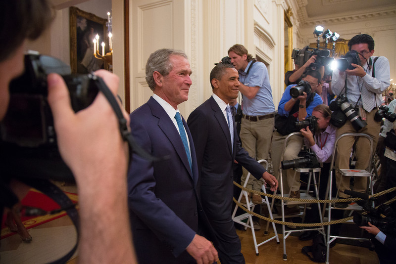 President Obama and First Lady Michelle Obama hosted former President George W. Bush and Former First Lady Laura Bush for the unveiling of their official portraits. (May 31, 2012)