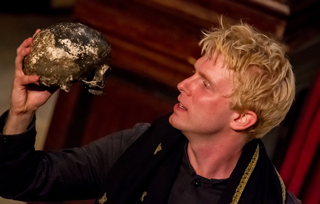 """Alas, poor Yorick! - Georgetown grad Michael Benz as Hamlet. """"Hamlet"""" came to the Folger for a two-week run courtesy of London-based Shakespeare's Globe. This production has already toured Britain extensively and began its North American trip here in Washington, D.C."""
